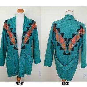 Southwestern Aztec Boho Acid Wash Denim Jacket